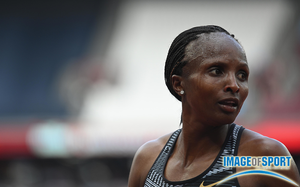 Hellen Obiri (KEN) poses after winning the 5000m in 14:20.36, setting a new world leading time during the London Anniversary Games, Sunday, July 21, 2019, in London, United Kingdom. (Dylan Stewart/Image of Sport via AP)