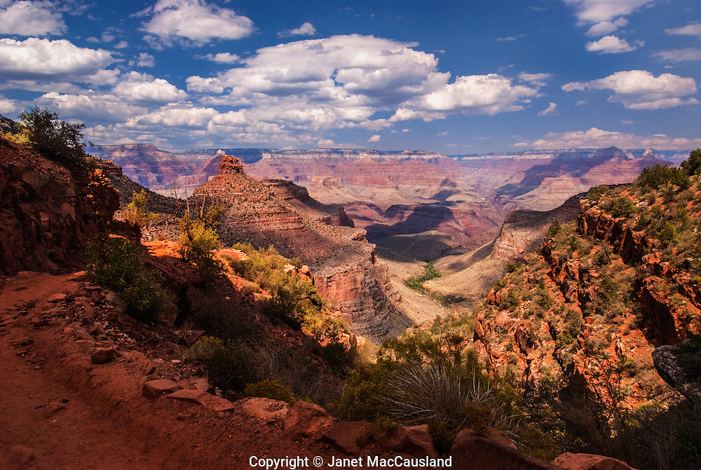The Bright Angel Trail is one of the most popular hikes down into the wonderful Grand Canyon, taking a hiker through eons of rock layers in a rainbow of colors.