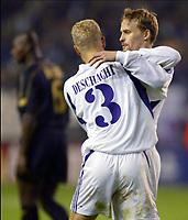 Fotball<br /> UEFA Champions League 2003/2004<br /> Norway Only<br /> Foto: Digitalsport<br /> <br /> BUXELLES BRUSSELS BRUSSEL 21/10/2003 FOOTBALL VOETBAL / UEFA CHAMPIONS LEAGUE : RSCA ANDERLECHT vs CELTIC GLASGOW FC / OLIVIER DESCHACHT / HANNU TIHINEN / PICTURE : VINCENT KALUT - PHILIPPE CROCHET - JIMMY BOLCINA