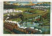 Illustration of the Siberian War:  Furious fighting at Amur - Train of Japanese soldiers pursuing a Bolshevik train over the River Amur, 1918.  Japan claimed Eastern Siberia as part its territory. Rail Military Gunfire Chromolithograph 1919