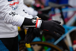 Ashleigh Moolman Pasio puts on her gloves at Strade Bianche - Elite Women 2018 - a 136 km road race on March 3, 2018, starting and finishing in Siena, Italy. (Photo by Sean Robinson/Velofocus.com)