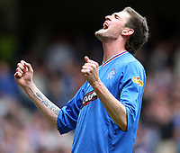 Fotball<br /> Skottland<br /> Foto: Colorsport/Digitalsport<br /> NORWAY ONLY<br /> <br /> 09.05.2010<br /> Football - Scottish Premier League -  Rangers vs Motherwell<br /> <br /> Rangers draw 3 -3 with motherwell before being presented with the Clydesdale Bank Premier League Trophy .<br /> <br /> Rangers Northen Irish internationalist Kyle Lafferty