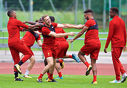 ROTTACH-EGERN, GERMANY - Friday, July 28, 2017: Liverpool's captain Jordan Henderson and Joe Gomez during a training session at FC Rottach-Egern on day three of the preseason training camp in Germany. (Pic by David Rawcliffe/Propaganda)