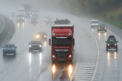©Licensed to London News Pictures 21/10/2020  <br /> Swanley, UK. Wet driving conditions for drivers on the M25 near Swanley in Kent. The Met office has issued a severe weather warning for the UK as storm Barbara comes in from Spain bringing winds and torrential rain. Photo credit:Grant Falvey/LNP