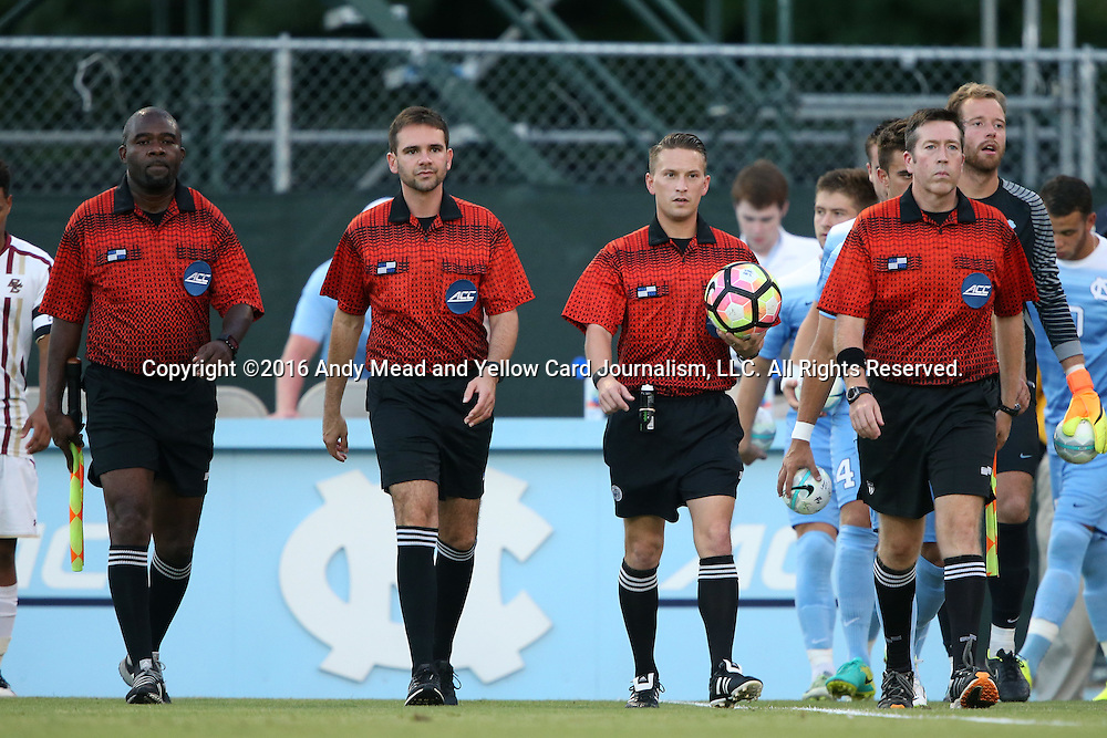 23 September 2016: Match officials. From left: Assistant Referee Clive Edwards, Fourth Official Jeremy Smith, Referee Charlie Murphy, Assistant Referee Aaron Gallagher. The University of North Carolina Tar Heels hosted the Boston College Eagles in Chapel Hill, North Carolina in a 2016 NCAA Division I Men's Soccer match. UNC won the game 5-0.