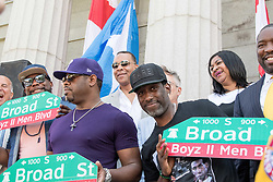 June 24, 2017 - Philadelphia, Pennsylvania, U.S - NATHAN MORRIS, WANYA MORRIS, and SHAWN STOCKMAN of Grammy Award wining group, Boyz II Men, show off their new street sign at their street dedication at the Philadelphia High School for the Creative and Performing Arts in Philadelphia Pa (Credit Image: © Ricky Fitchett via ZUMA Wire)
