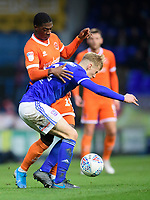 Blackpool's Sullay Kaikai vies for possession with Ipswich Town's Flynn Downes<br /> <br /> Photographer Chris Vaughan/CameraSport<br /> <br /> The EFL Sky Bet League One - Ipswich Town v Blackpool - Saturday 23rd November 2019 - Portman Road - Ipswich<br /> <br /> World Copyright © 2019 CameraSport. All rights reserved. 43 Linden Ave. Countesthorpe. Leicester. England. LE8 5PG - Tel: +44 (0) 116 277 4147 - admin@camerasport.com - www.camerasport.com