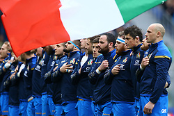 March 17, 2018 - Rome, Italy - Rugby NatWest 6 Nations: Italy v Scotland..Sergio Parisse of Italy and the teammates during the national anthem at Olimpico Stadium in Rome, Italy on March 17, 2017. (Credit Image: © Matteo Ciambelli/NurPhoto via ZUMA Press)