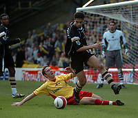 Photo: Tony Oudot.<br />Watford v Charlton Athletic. The Barclays Premiership. 03/03/2007.<br />Talal El Karkouri of Charlton Athletic goes past Tommy Smith of Watford