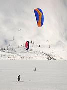 Alaska. Kite Skiing on Portage Lake, Chugack National Forest.