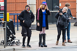 Transexual Tara Wolf, 26, from Stratford, outside Hendon Magistrate's Court in London where she is defending charges of assaulting 61 year old Maria MacLachan when a brawl broke out between feminists and transgender activists at Speakers' Corner. London, April 13 2018.