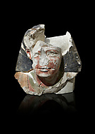 Ancient Egyptian statue head of a monarch, limestone, Middle Kingdom, mis 12th Dynasty, (1900-1850 BC), Qqw el-Kebir, tomb of Ibu. Egyptian Museum, Turin. black background.<br /> <br /> Since this statue head comes from the tomb of Ibu it is likely that they depict a powerful gosvenor, although the incsription is lost. It can be dated by its style which is close to the statues of Amenemhat II and Sesostris II. Schiaparelli excavations. Cat 4410 & 4414 .<br /> <br /> If you prefer to buy from our ALAMY PHOTO LIBRARY  Collection visit : https://www.alamy.com/portfolio/paul-williams-funkystock/ancient-egyptian-art-artefacts.html  . Type -   Turin   - into the LOWER SEARCH WITHIN GALLERY box. Refine search by adding background colour, subject etc<br /> <br /> Visit our ANCIENT WORLD PHOTO COLLECTIONS for more photos to download or buy as wall art prints https://funkystock.photoshelter.com/gallery-collection/Ancient-World-Art-Antiquities-Historic-Sites-Pictures-Images-of/C00006u26yqSkDOM