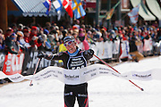 Rebecca Dussault of Gunnison, Colo  wins the womens portion of the American Birkebeiner cross country ski race from Cable, Wisconsin to Hayward, Wisconsin.  Photo by Mike Roemer / Mike Roemer Photography Inc