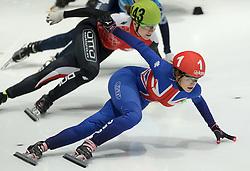 24-01-2015 NED: ISU European Championships Shorttrack, Dordrecht<br /> Europees kampioene Elise Christie GBR op de 500 m