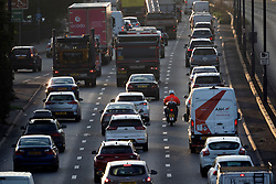 © Licensed to London News Pictures. 07/09/2020. London, UK. Queues of traffic on the A40 at Perivale in West London. The holiday season has now drawn to a close as the school term starts and workers are encouraged to return to their work environment in an attempt to aid the economy, following the deep impact of COVID-19. Photo credit: Ben Cawthra/LNP