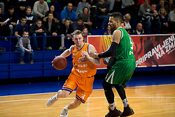 Jure Mocnik of KK Helios Suns and Devin Oliver of KK Petrol Olimpija Ljubljana during basketball match between KK Helios Suns and KK Petrol Olimpija in Playoffs of Liga Nova KBM 2017/18, on March 26, 2018 in Hala Kominalnega Centra, Domzale, Slovenia. Photo by Urban Urbanc / Sportida