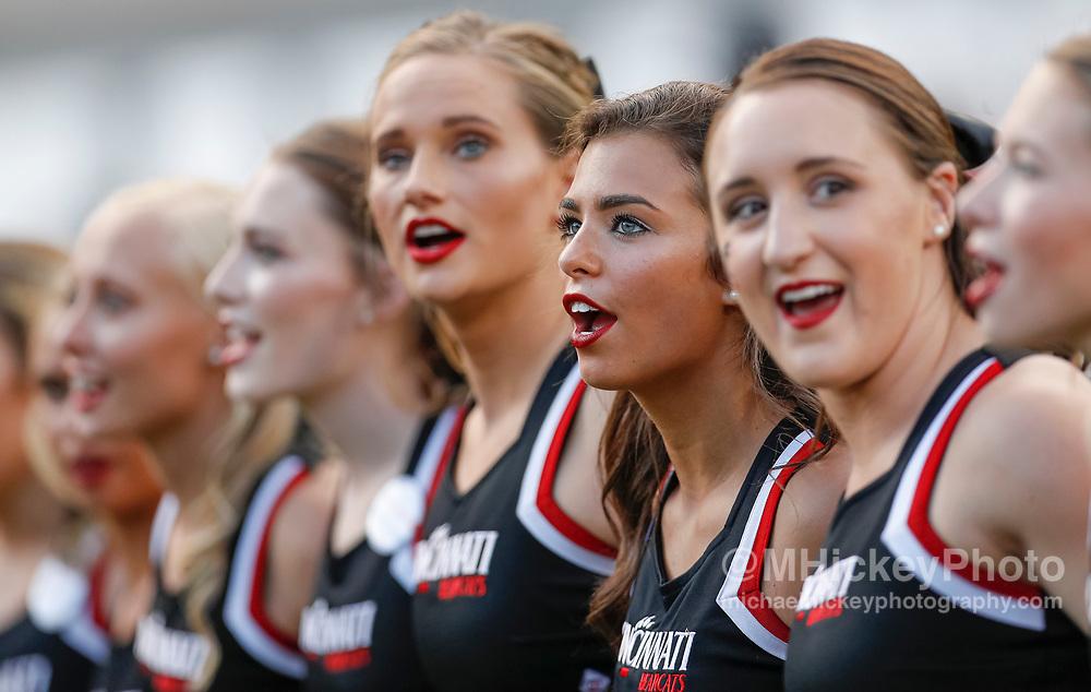 CINCINNATI, OH - AUGUST 29: Cincinnati Bearcats cheerleaders are seen before the game against the UCLA Bruins at Nippert Stadium on August 29, 2019 in Cincinnati, Ohio. (Photo by Michael Hickey/Getty Images)