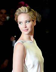 Jennifer Lawrence nominated for Best supporting actress for the Oscars 2014.<br /> Jennifer Lawrence arrives for The Hunger Games: Catching Fire premiere, Leicester Square, London, United Kingdom. Monday, 11th November 2013. Picture by Andrew Parsons / i-Images