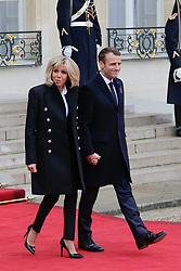 French President Emmanuel Macron and his wife Brigitte Macron welcome the heads of state at the Elysée Palace in Paris , France on november 11, 2018. Photo by Thibaud Moritz/ ABACAPRESS.COM