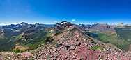 Panoramic view from the summit of Sinopah Mountain in Glacier National Park, Montana, USA