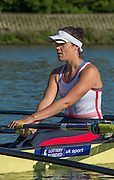 Caversham, United Kingdom,  GBR W4X, Lucinda GOODERHAM, Stretching, GBR Rowing, European Championships, team announcement, of crews competing in Belgrade, in May. Venue, GBR rowing training base, near Reading,<br /> 08:37:04  14/05/2014   14/05/2014  <br /> [Mandatory Credit: Peter Spurrier/Intersport<br /> Images]