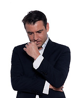 studio portrait on white background of a business man thiking pensive portrait