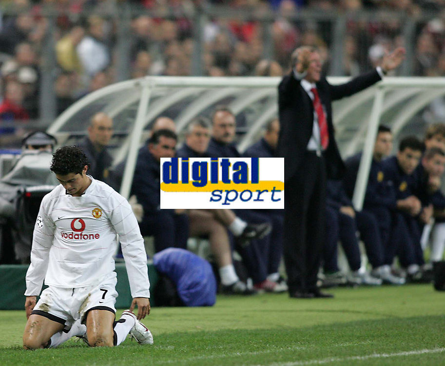 Photo: Lee Earle.<br /> Lille v Manchester Utd. UEFA Champions League.<br /> 02/11/2005. Manchester United's Cristiano Ronaldo looks dejected after being fouled by Mathieu Bodmer as United manager Sir Alex Ferguson shows his frustration.