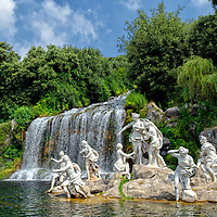 Caserta. Campania. Italy. View of the impressive fountain of Diana and Actaeon in which the great cascade, a waterfall some 75 metres high plunges.  The sculpture group in picture is of the goddess Diana, the patron of chastity who is bathing and is surrounded by nymphs.