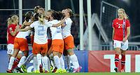 Fotball kvinner / Football women<br /> FIFA Women's World Cup 2015<br /> Qualifying round<br /> Norge v Nederland 0:2<br /> Norway v Netherlands 0:2<br /> 17.09.2014<br /> Foto: Morten Olsen, Digitalsport<br /> <br /> 17 Lene Mykjåland / Lillestrøm - NOR<br /> 21 Ada Hegerberg - NOR<br /> Netherlands celebrating goal