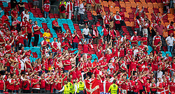 AMSTERDAM, THE NETHERLANDS - Saturday, June 26, 2021: Denmark's supporters celebrate after the UEFA Euro 2020 Round of 16 match between Wales and Denmark at the  Amsterdam Arena. Denmark won 4-0. (Photo by David Rawcliffe/Propaganda)