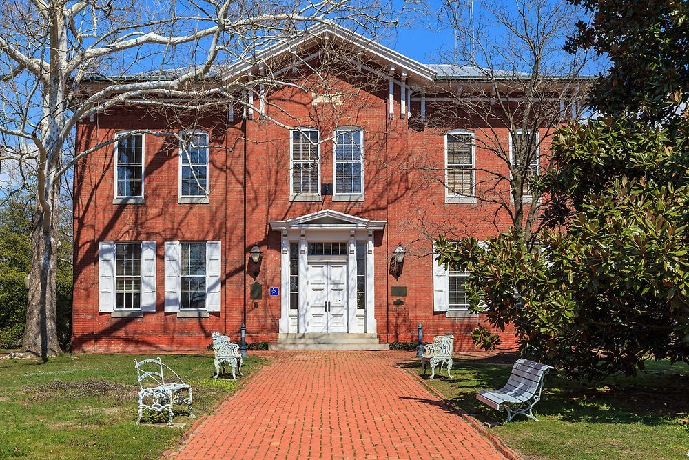 Chestertown, MD, USA - March 30, 2013: A Chestertown MD Brick Government Building with Brick Walkway in the center of the town.