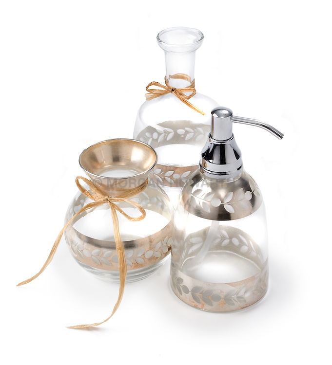 decorative metal plated glass bathroom bottles and dispensers
