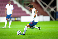 Reiss Nelson (#19) of England U21s (Hoffenheim, loan from Arsenal) scores a goal during the U21 UEFA EUROPEAN CHAMPIONSHIPS match between Scotland and England at Tynecastle Stadium, Edinburgh, Scotland on 16 October 2018.