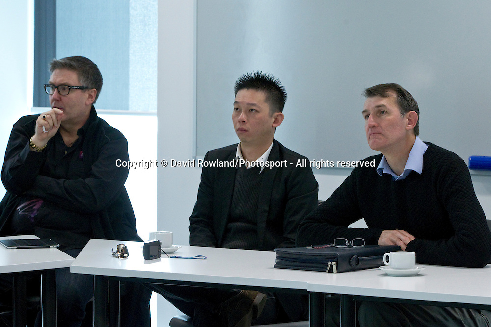 Brett O'Riley, Chief Executive ATEED with Mr Chien-Hsing (Johnson) Chen and Brisbane Lord Mayor Graham Quirk listen to a briefing at AUT whilst on the Brisbane Lord Mayoral Business Mission, Auckland, New Zealand, Saturday 29 June 2013.  Photo: David Rowland/Photosport