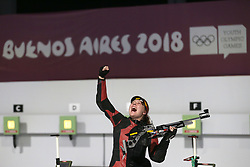 BUENOS AIRES, Oct. 9, 2018  Stephanie Laura Scurrah Grundsoee of Denmark celebrates victory after the women's 10m air rifle final at the 2018 Summer Youth Olympic Games in Buenos Aires, Argentina, on Oct. 8, 2018. Stephanie Laura Scurrah Grundsoee won the gold with 248.7 points. (Credit Image: © Li Ming/Xinhua via ZUMA Wire)