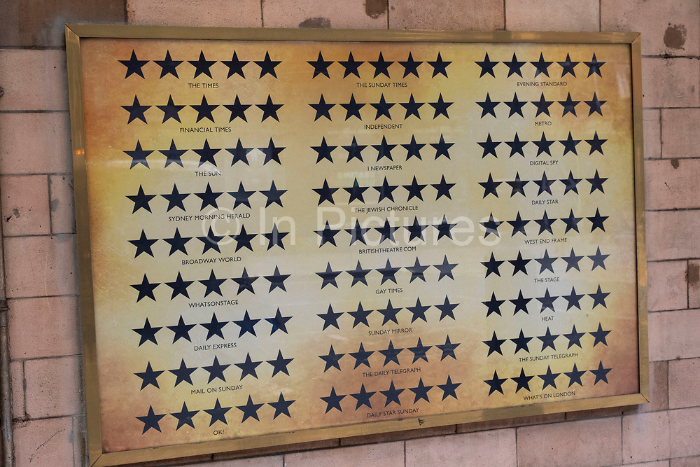 Five star reviews board outside the Palace Theatre on 5th March 2021 in London, England, United Kingdom.