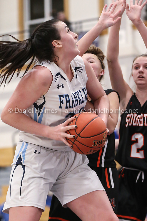 (1/7/20, FRANKLIN, MA) Franklin's Ali Brigham drives to the basket during the Hockomock League matchup against Stoughton at Franklin High School on Tuesday. [Daily News and Wicked Local Photo/Dan Holmes]