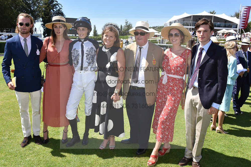 Left to right, the Marquess of Granby, Lady Violet Manners, Lady Alice Manners, the Duchess of Rutland, the Duke of Rutland, Lady Eliza Manners and the Hon.Hugo Manners at the Qatar Goodwood Festival - Glorious Goodwood, Goodwood Racecourse, West Sussex 02 August 2018.