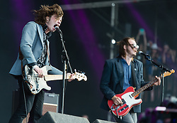 "© Licensed to London News Pictures. 28/08/2015. Reading Festival, UK. Palma Violets performing at Reading Festival on Day 1 of the festival.  In this picture - Alexander ""Chilli"" Jesson (left), Samuel Thomas Fryer, (right) Photo credit: Richard Isaac/LNP"