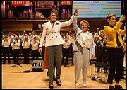 DEBBIE TOKSVIG; SANDI TOKSVIG;, Sandi  and Debbie Toksvig,  renewing their civil partnership vows at the Royal Festival Hall. London. 29 March 2014.