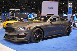 11 February 2016: 29016 Ford Mustang Shelby Cobra.<br /> <br /> First staged in 1901, the Chicago Auto Show is the largest auto show in North America and has been held more times than any other auto exposition on the continent.  It has been  presented by the Chicago Automobile Trade Association (CATA) since 1935.  It is held at McCormick Place, Chicago Illinois<br /> #CAS16