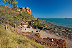 Tourists on the beach at Raft Point in Doubtful Bay.  Raft Point is one of the most visited sites on the Kimberley coast, with Wandjina artwork visited by thousands of people every year.