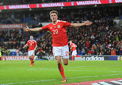 Emyr Huws of Wales celebrates scoring a goal to make it 2-2 - Mandatory byline: Dougie Allward/JMP - 07966 386802 - 13/11/2015 - FOOTBALL - Cardiff City Stadium - Cardiff, Wales - Wales v Netherlands - International Friendly