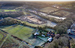 VIDEO AVAILABLE : https://we.tl/t-SQVmqbvcNl  © Licensed to London News Pictures. 29/01/2020. London, UK. High Speed Two (HS2) rail line works approach Dews Farm (R) in the London Borough of Hillingdon. The farm will be demolished to make way for the rail line.  A government decision is expected soon on whether the HS2 rail project will fully go ahead with some budget estimates showing a cost of £70-£80bn. Photo credit: Peter Macdiarmid/LNP