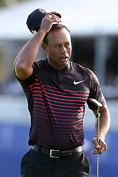 January 25, 2018 - San Diego, California, United States - Tiger Woods reacts after putting the 18th green during the first round of the 2018 Farmers Insurance Open at Torrey Pines GC. (Credit Image: © Debby Wong via ZUMA Wire)