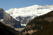 Glaciers cover the summit of Mount Victoria, 11,365 feet tall.Lake Louise area of Banff National Park