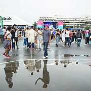 WASHINGTON, DC - August 23rd, 2014 - The crowd  at the 3rd annual Trillectro Music Festival at RFK Stadium in Washington, D.C. Rain put a damper on the day and left large puddles all over the grounds. (Photo by Kyle Gustafson / For The Washington Post)