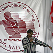 "Marlon ""Magic Man"" Starling speaks during the 23rd Annual induction weekend opening ceremony at the International Boxing Hall of Fame on Thursday, June 7, 2012 in Canastota, NY. (AP Photo/Alex Menendez)"