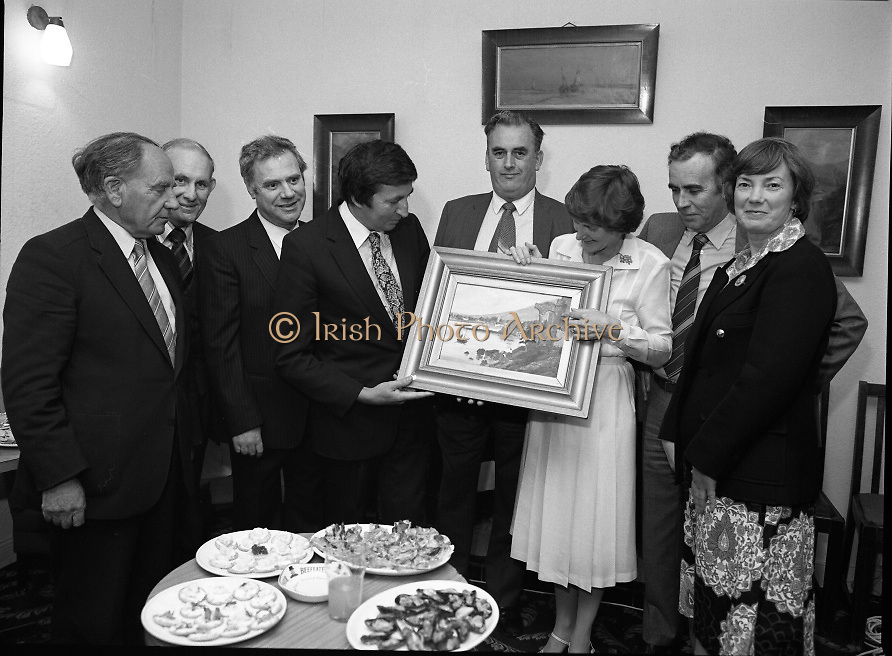 "The Carlingford Oyster Festival.1982.19.08.1982..08.19.1982.19th August 1982..Pictures and Images of the Carlingford Oyster Festival...The Minister For Fisheries and Forestry Mr Brendan Daly officially opened  The Carlingford Oyster Festival. The Chairman of the organising committee was Mr. Joe McKevitt..""The Oyster Pearl"" was Ms Deirdre McGrath."
