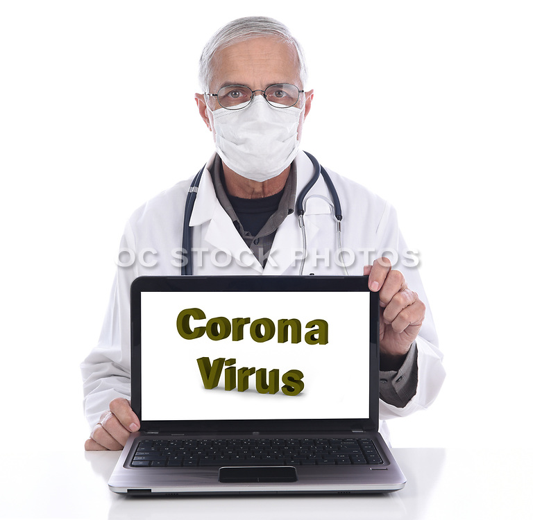 Coronavirus in Large lLetters on a Laptop Computer Screen